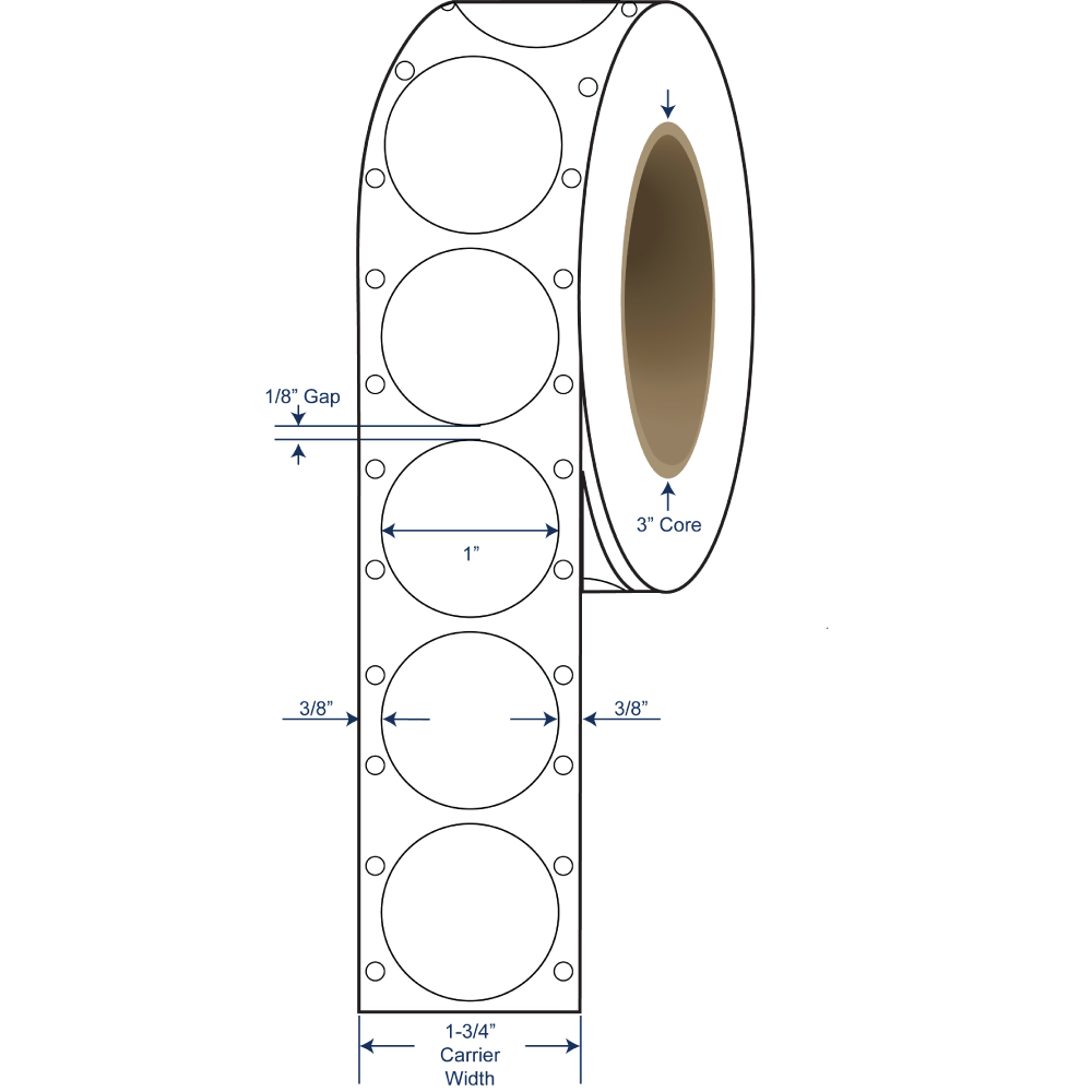 """1"""" White Paper Pinfeed Circle Stickers"""