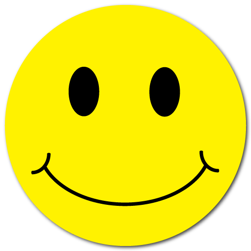 """1"""" Yellow Smiley Face Circle Stickers"""