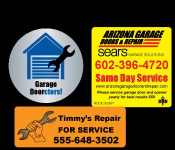 Custom Indoor Garage Door Service and Sale Labels