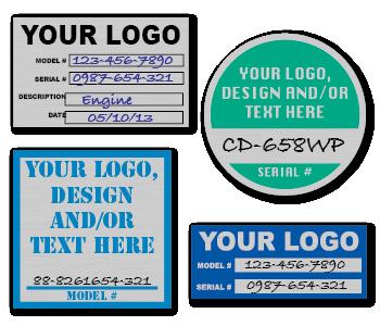 Custom Name Plate Satin Aluminum Stickers