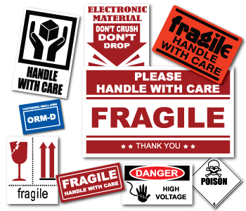 Handle with care stickers, fragile warning stickers and more